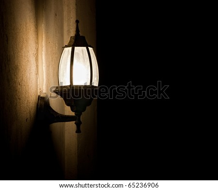 Old fashioned street light at night