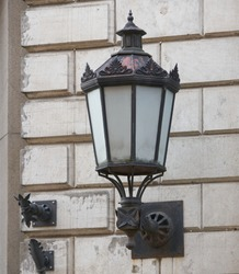 old fashioned street light on the wall
