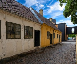 Old-fashioned streets of Odense, Denmark