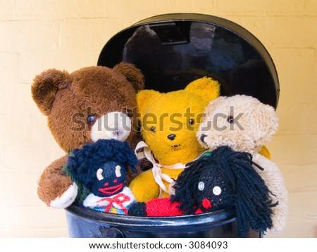 Old-fashioned Teddies in Toy Box