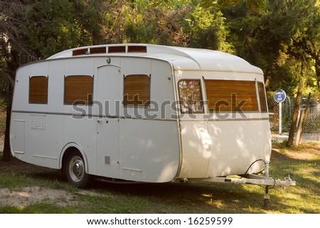 old fashioned trailer caravan - stock photo