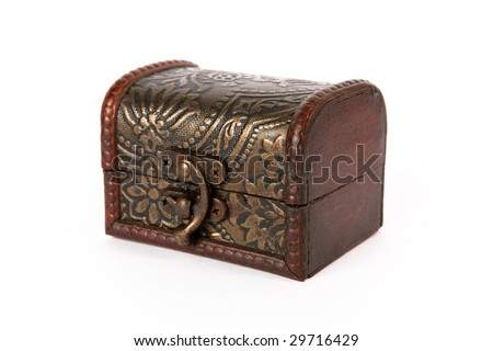 Old-fashioned treasure chest, isolated on white background