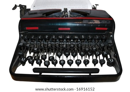 old fashioned, vintage typewriter isolated on white background