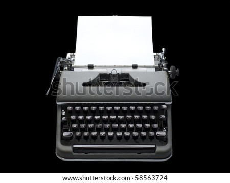 old fashioned, vintage typewriter with a blank sheet of paper inserted, isolated with clipping path