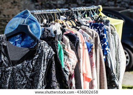 Free photos Rack of old fashioned women's clothes on display for