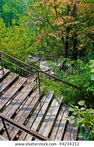 Old fashioned wood stairs in Kiev Ukraine