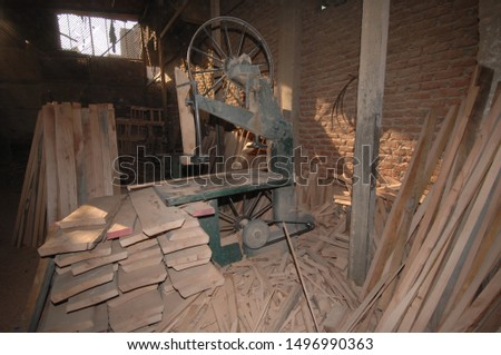 old fashioned wood workshop with saw and timber in back streets of Cairo Egypt Middle East