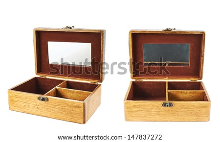 Old-fashioned wooden old casket with a mirror isolated over white background, set of two foreshortenings