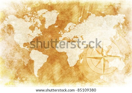 Old-Fashioned World Map Design: Rustic World Map with Compass Rose Illustration / Background. - stock photo