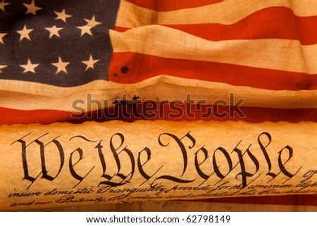 Old fashionet American Constitution - We the people  with USA Flag.