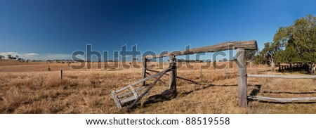 Old fence in the Australian Outback Panorama