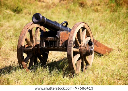 old field cannon shot on meadow grass