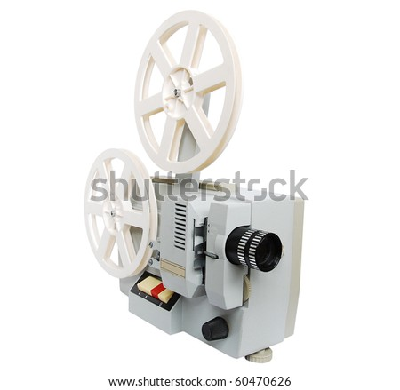 Old film projector isolated on white background