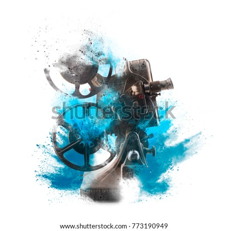 Old film projector with exploding style isolated on white