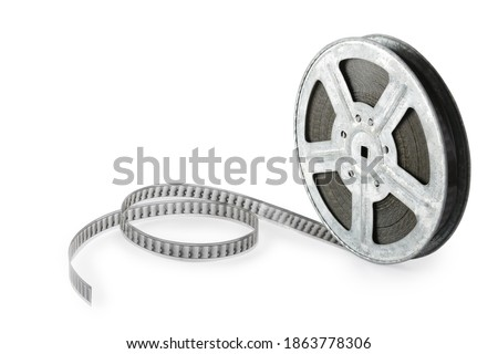 Old film strip isolated on white background. Side view