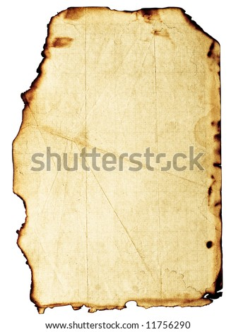 Old, fine-textured grunge burnt paper with dark adust borders. Isolated on white with clipping paths