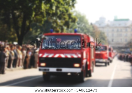 Old fire car. Blurred bokeh basic background for design