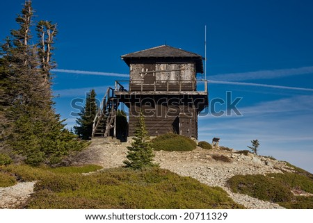 Old fire lookout station in the mountains