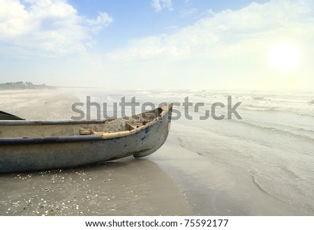 Old fisherman boat  on the beach