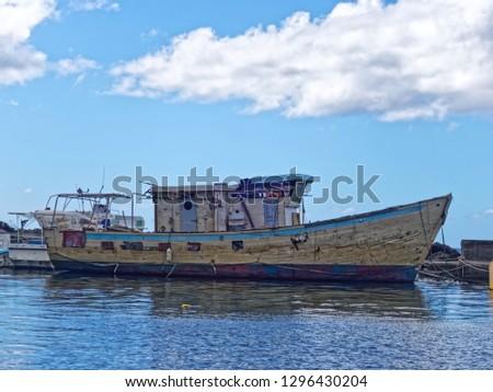 Old fishermen boat in Case-Pilote harbor - Martinique, FWI