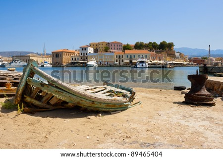 Old fishing boat  in harbour of Chania. Crete, Greece