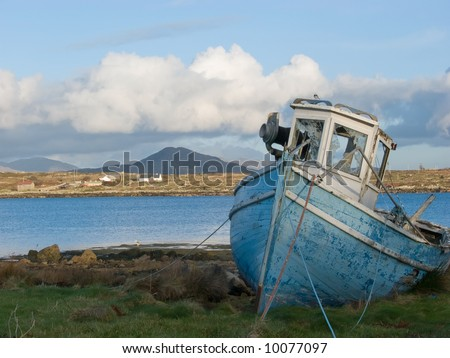 Old fishing boat in Roundstone, Connemara, Ireland