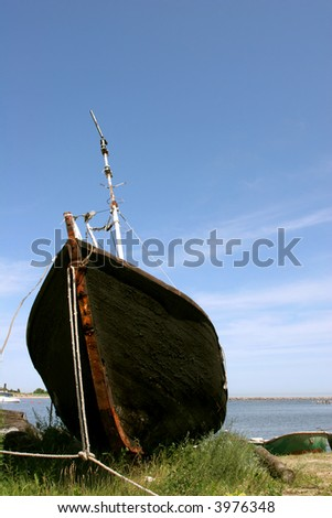 Old fishing boat on the shore