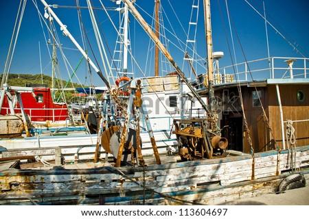 Old fishing boats fleet in Kukljica harbor, Island of Ugljan, Croatia