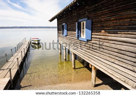 old fishing hut at a lake