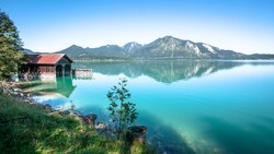 old fishing hut at the walchensee in germany