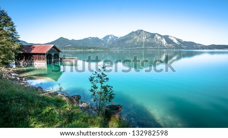 old fishing hut at the walchensee in germany #132982598