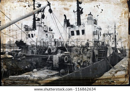 Old fishing ship, port in Bulgaria .Photo in old image style.