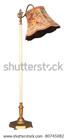 Old floor lamp isolated on white background.