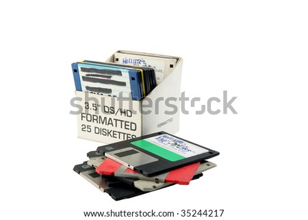 old floppy disc in a box isolated on white room for your text
