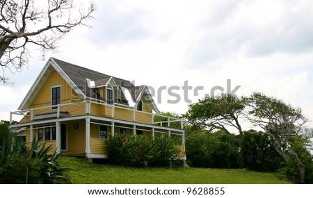 old Florida Beach House and wind-blown tree isolated against a white sky PHOTOID: Beach-House00002