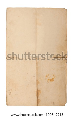 old folded paper isolated on white