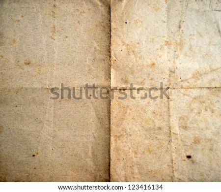 Old folded paper sheet background