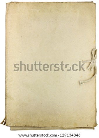 Old folder for papers isolated on white background