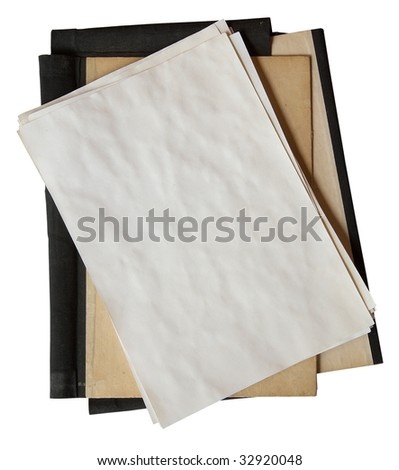 old folder with stack of old papers isolated on white background with clipping path - stock photo