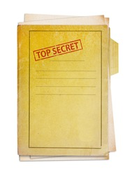 Old folder with top secret stamp, clipping path.