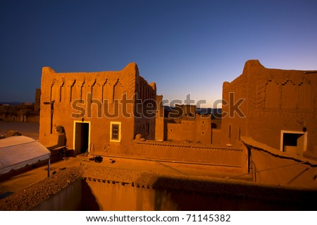 Old Fort - the kasbah in ouarzazate at night