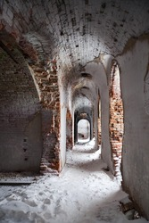 Old fortification interior in winter