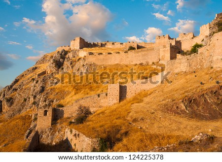 Old fortress, Acrocorinth,  of ancient Corinth at sunset, Greece
