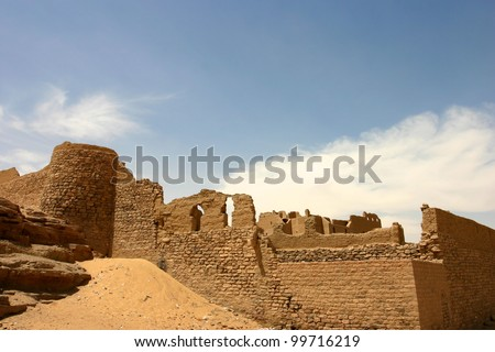 Old fortress close to Aswan in Egypt. - stock photo