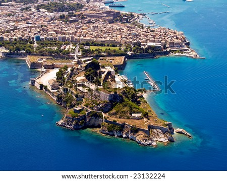 Old fortress in Corfu, Greece, aerial view
