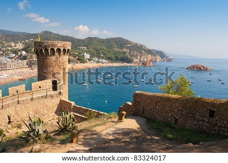 Old Fortress in Tossa de Mar. Costa Brava, Spain