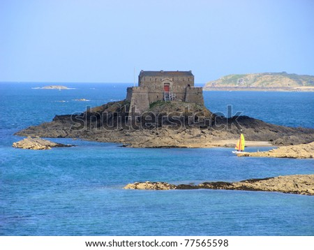 Old fortress off the Emerald Coast at St. Malo, France