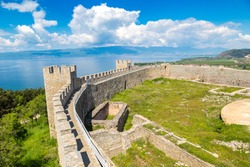 Old fortress ruins of tzar Samuel in Ohrid in a beautiful summer day, Republic of Macedonia