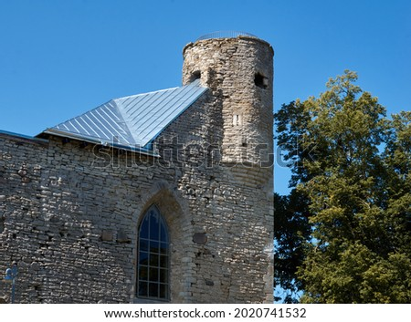 Old fortress tower against blue sky. High quality photo Stockfoto ©