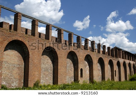 Old fortress wall in Smolensk. Russia